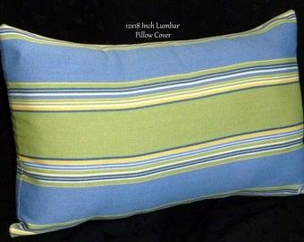 Decorative Throw Pillow, Lumbar Pillow, Accent Pillow - 18x12 Inch Lumbar, Blue and Green