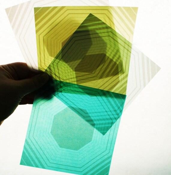 Octagon Origami Paper - 8 Sheets Medium 5 Inch Squares - Radiant Translucent Origami Paper - Modern, geometric origami paper
