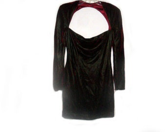 Rich Burgundy Velvet  Cocktail Dress  by Designer Victor Costa