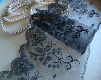 """4.5"""" Wide Antique Cotton Black Lace Victorian Lace Edwardian Lace Antique Dress French Lace Trim Victorian Costume Made in France MB"""