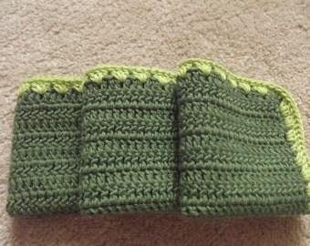 3 Pcs Green Cotton Crochet Dishcloths ...Crochet Wash cloth..Crochet Pattern ...Crochet bath and beauty...Crochet Kitchen Cleaning