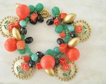 Charm Floral Flower Coral Orange Green OOAK Statement One Of A Kind Bracelet Gold Jade Room Bracelet
