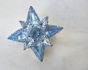 50s 60s Something Blue Flower Rhinestone  Brooch Pin