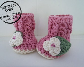 Crochet Pattern - High Country Baby Booties - 5 Infant Sizes NB to 12 Months - High Top Ribbed Baby Booties