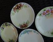 4 Hand Painted Plates. Acorns, Blueberries, Roses, Forget-Me-Nots. Vintage Antique 1920s. Favorite Bavaria. Cottage Decor.