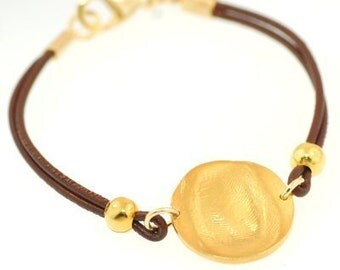 Fingerprint Gold Circle Bracelet