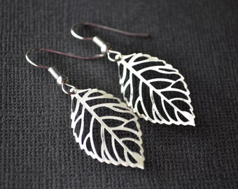 Bright Silver Filigree Leaves . Earrings . Small . Autumn Leaves Collection