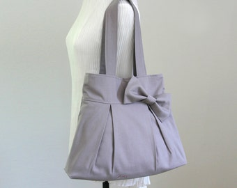 Christmas Sale - Light Gray Canvas Bag with Bow, Pleated bag, Tote bag, Shoulder Bag, Purse, Everyday bag, Bridesmaid Gift, Cute - Bowie