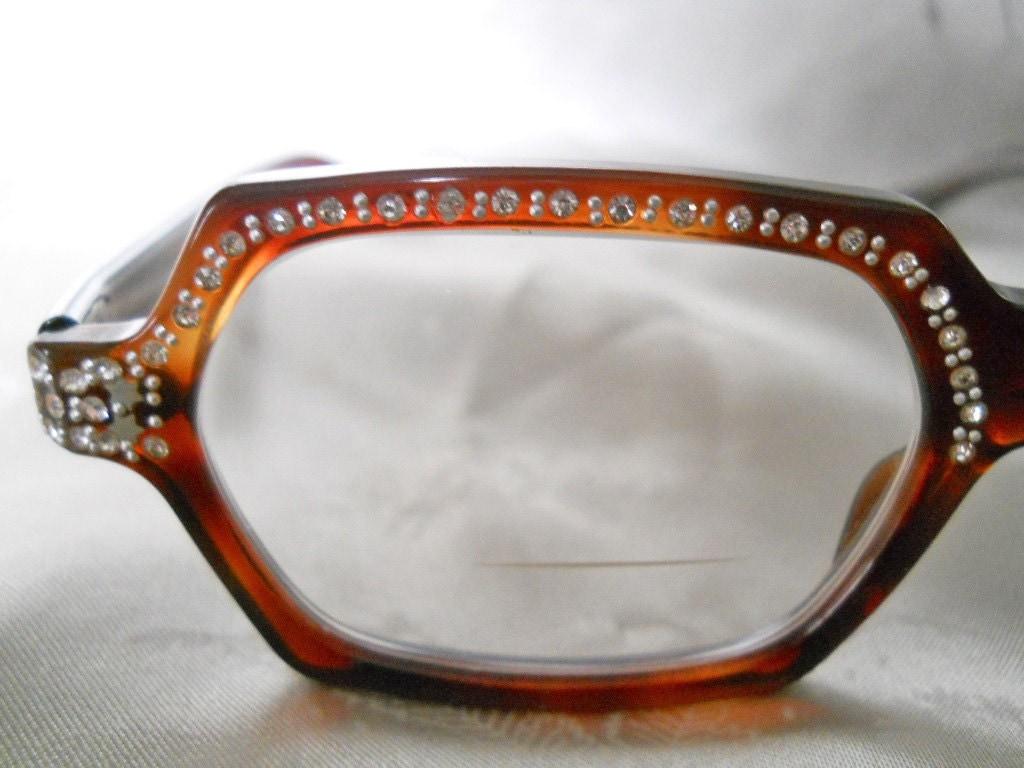 Vintage Rhinestone Mod Eyeglasses in by LunaJunctionVintage