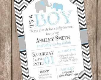 Boy elephant baby shower invitation, blue and gray baby shower invitation, blue, black, gray, elephant, chevron, printable invitation