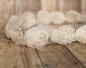 Petite Ivory Baptism Lace  Flower bouquet  Headband, Baby to Toddler Headband, Newborn Photo Prop, Christening headband