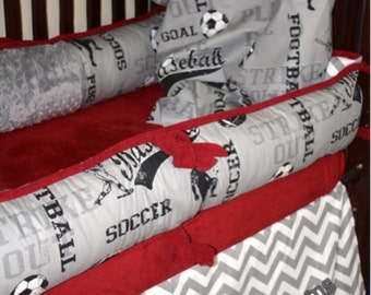 Play Ball crib bedding 4 piece set