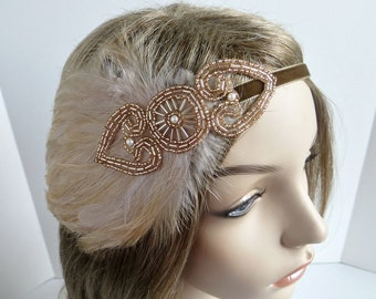 Champagne Flapper Dress Gatsby Headpiece for Gatsby Dress Costume, 1920s Costume Headband Champagne Feather Fascinator, Flapper Costume