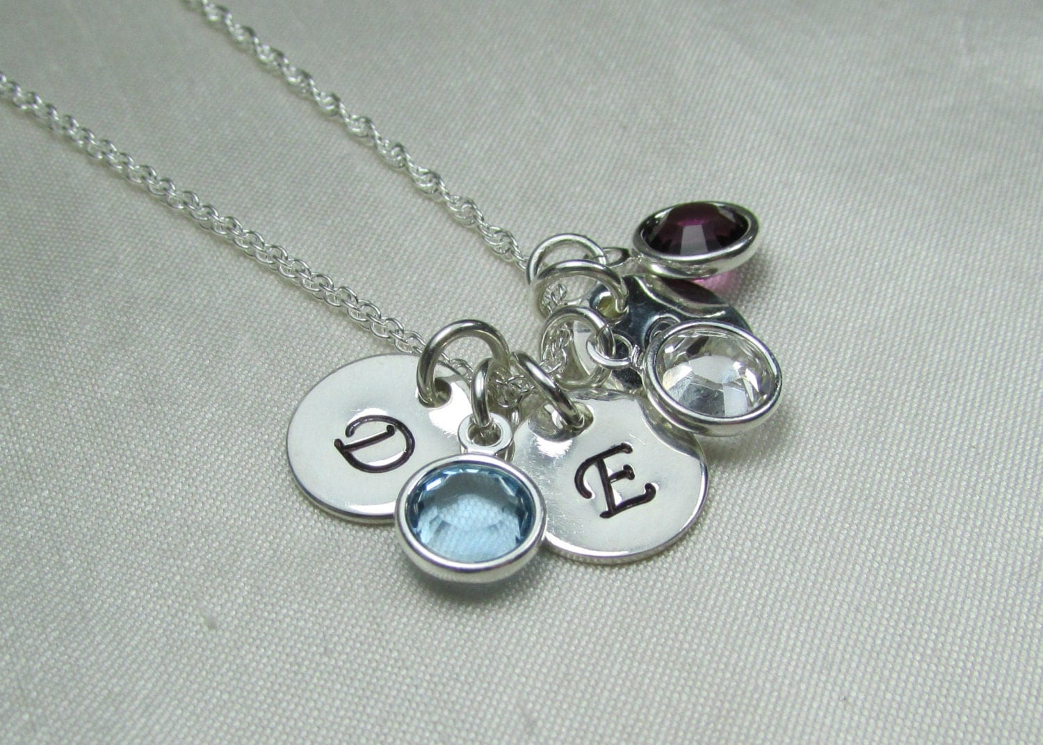 initial necklace personalized mothers necklace birthstone. Black Bedroom Furniture Sets. Home Design Ideas