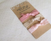 Pink Champagne No Crease Fold Over Elastic Knotted Hair Tie Bracelets Tied with a Bow
