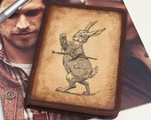 Kindle Leather Cover - Alice in Wonderland Rabbit - Customizable - Free Personalization
