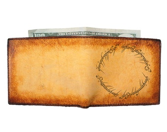 Bifold Leather Wallet - Personalized Wallet - Thin Leather Wallet - One Ring