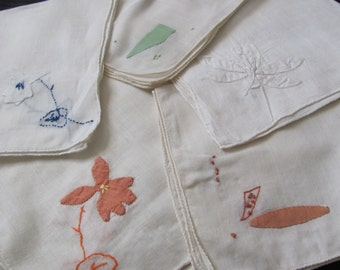 Lot of 5 Assorted Solid White Embroidered Linen Cotton Hankies