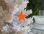 Orange Star Ornament Unique Sugar Royal Icing Hand Made To Order Christmas Wedding Decoration Cake Topper Favors Secret Santa Autumn Decor
