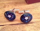 IRON MAN's ARC Reactor placed under Glass on silver plated Cufflinks