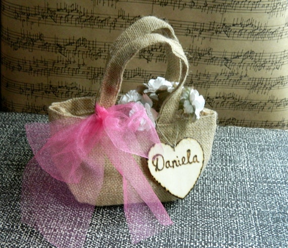 Flower Girl Baskets Small : Items similar to burlap small tiny flower girl basket with
