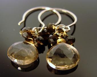 Smoky Quartz Briolette Sterling Silver Earrings