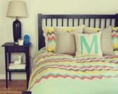 Monogram pillow case, 16x16 decorative cushion cover | Initial, Alphabet lower letters  | Mint green M applique and cream ecru beige