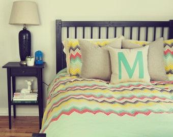 SALE | Monogram pillow case, 16x16 decorative cushion cover | Initial, Alphabet lower letters | Mint green M applique and cream ecru beige