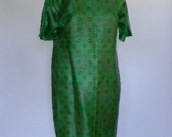 ELVintage Wedding 60s Pure Silk Green Sheath Dress