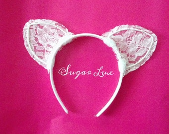White Lace Cat Ears