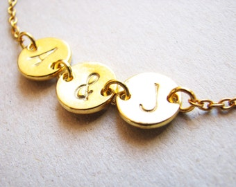 Two Initial Gold Bracelet, Gold Love Initials Bracelet, Gold Two Monogram Bracelet, Gold Double Initial Bracelet, Two Letters Bracelet