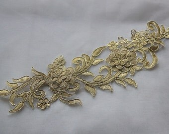 Gold Alencon Lace Appliques Flowers Embroidered Patch For Wedding Supplies Bridal Veil 1 Pcs