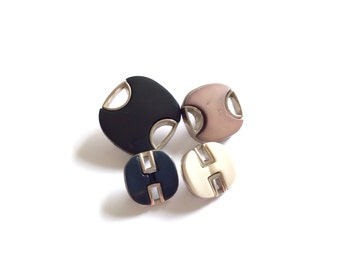 4 Assorted Navy, Grey & White Silver Vintage Buttons