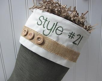 Green Burlap Stocking - Style #21
