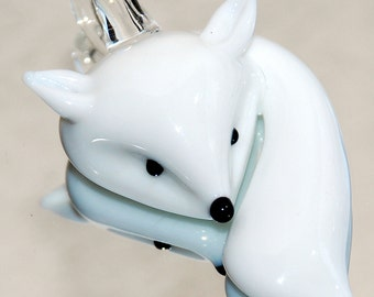 White Fox Glass Pendant 54x31mm