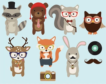 Woodland Hipster clip art images,  fox clipart, fox vector, royalty free clip art- Instant Download