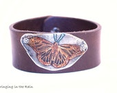 Leather cuff  Butterfly Etched Bracelet Handmade Upcycled Orange  No. BB