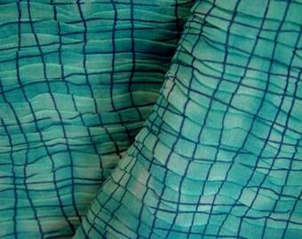 Turquoise Crinkle Crepe- Geo Retro Disco- 44 inch x 2.75 yds