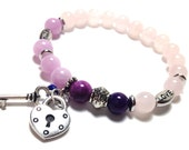 Silver Heart Lock, Key, Bracelet, Natural Rose Quartz,Love,Faith,Message