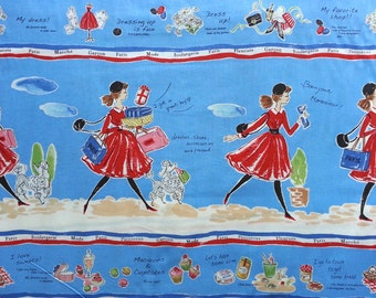 Japanese Cotton Fabric, Yuwa Fabric, 1970s Fabric, Paris Fabric, Macaron Fabric, Food Fabric, Cookie Fabric/Enjoy Shopping/1 Panel