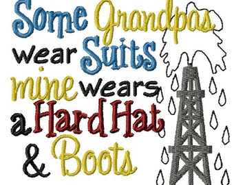 Instant Download Grandpa Wears Hard Hat Machine Embroidery File - Handmade embroidery design - Machine Embroidery Design - Digital Design
