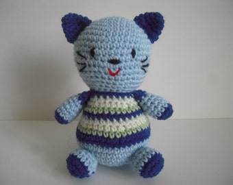 Crocheted Stuffed Amigurumi Cat in Striped Shirt