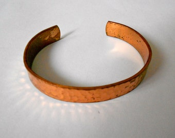 Vintage Solid Copper cuff hammered Bracelet