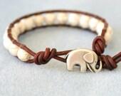 Bracelet, Elephant Leather wrap, boho, good luck, white Turquoise, beaded, hipster, gift for best friend, lucky jewelry, Custom made, cream