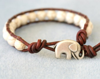 Bracelet, Elephant Leather wrap, boho, good luck, white Turquoise, beaded, hipster, gift for best friend, lucky jewelry, Custom made, cream