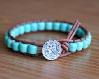 Turquoise Bohemian beaded leather wrap bracelet, hipster, blue, green, Boho Luxe, stacking, rustic look, Custom made