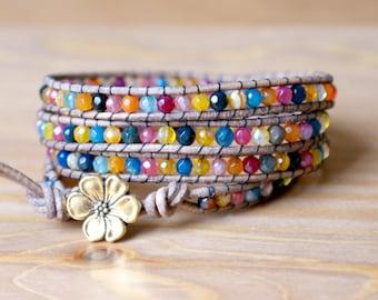Rainbow Agate Bohemian beaded leather wrap bracelet, gemstones, orange, blue, yellow, pink, ruby, trendy artisan jewelry, gold flower