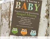owl baby shower invitation gender reveal gender neutral couples shower diaper baby sprinkle (item 1419)  shabby chic baby shower invites