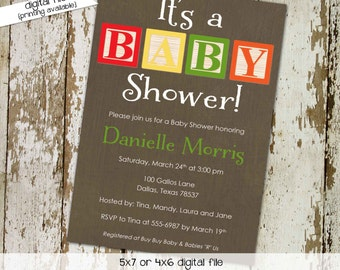 gender neutral baby shower invitation blocks primary colors b is for baptism birthday sip and see coed (item 1253) shabby chic invitations