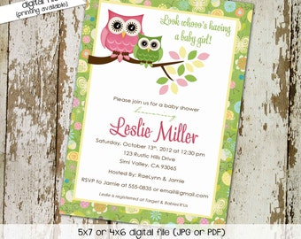 owl baby shower invitation owl first birthday baby girl shower green pink baby sprinkle gender reveal (item 131) shabby chic invitations